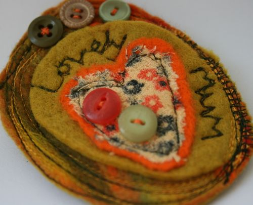 Lovely Mum brooch close up
