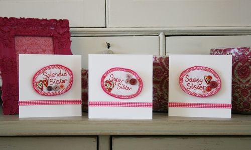 All three cards in situ on dresser