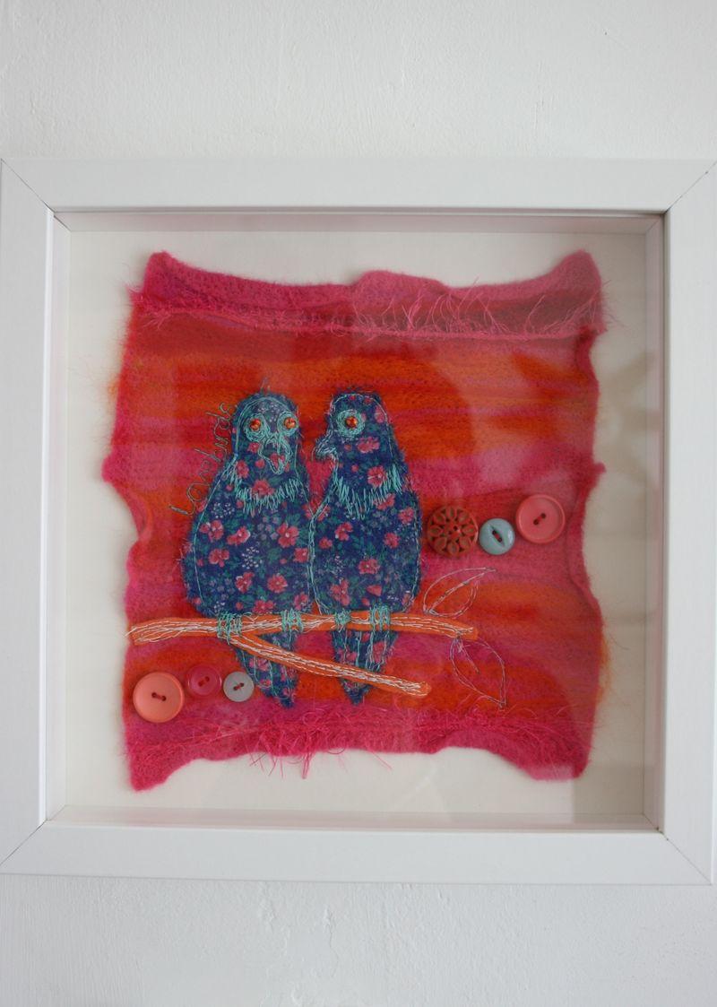 Lovebirds on wall 2