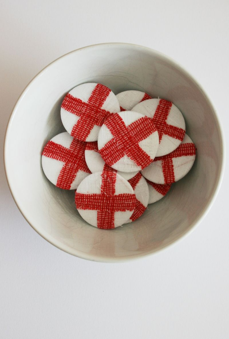 St George Flag Badges in Bowl 2