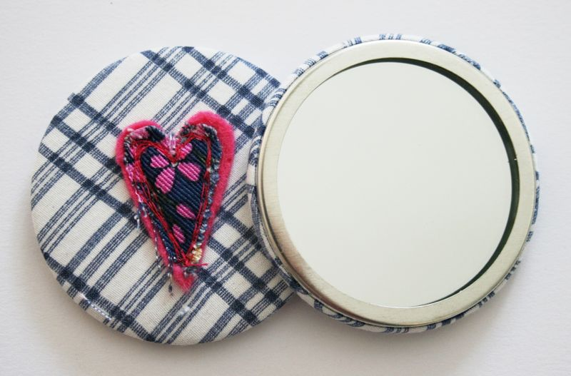 Pink heart mirror front and back
