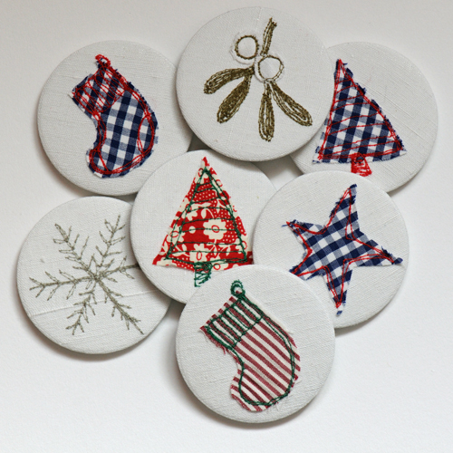 Christmas applique mirrors group on linen compact mirrors 1