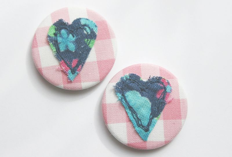 Hearts 2 navy on pink close up on white background lighter