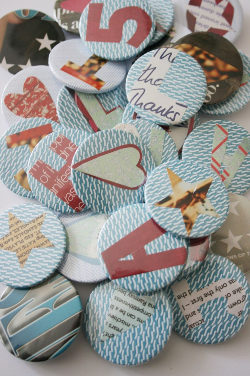 Recycled badges in pile