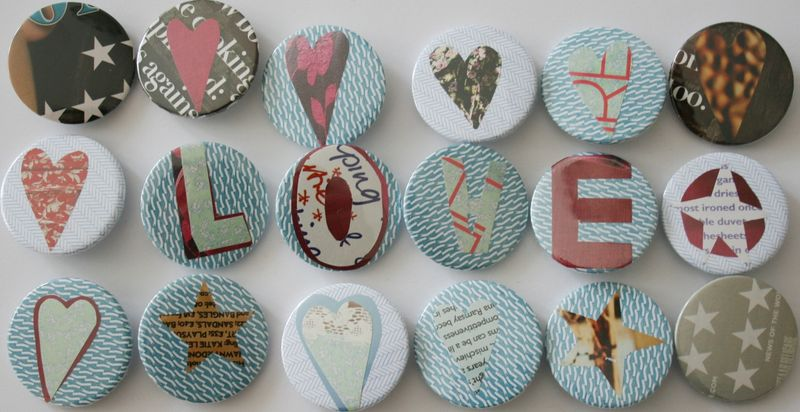 Recycled paper badges Love in group