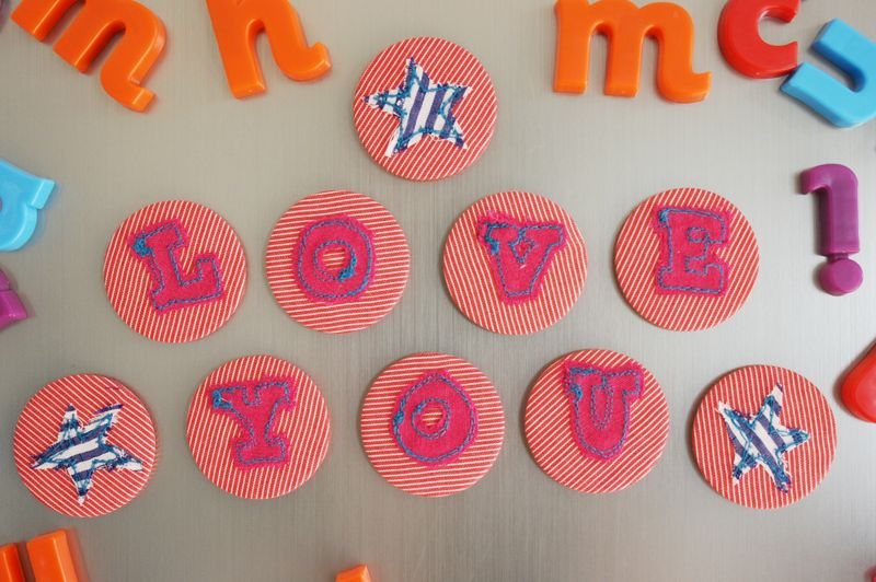 Love You magnet letters on fridge