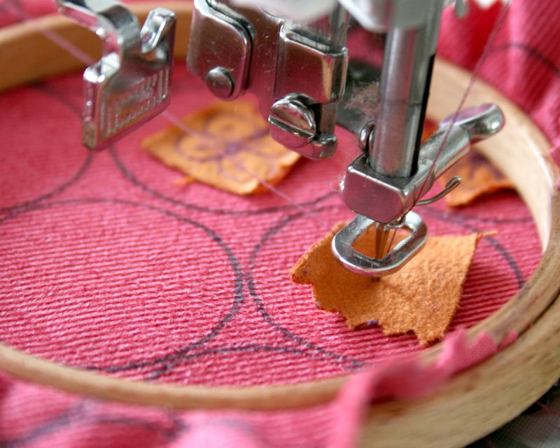 Flourish Applique badges sewing close up