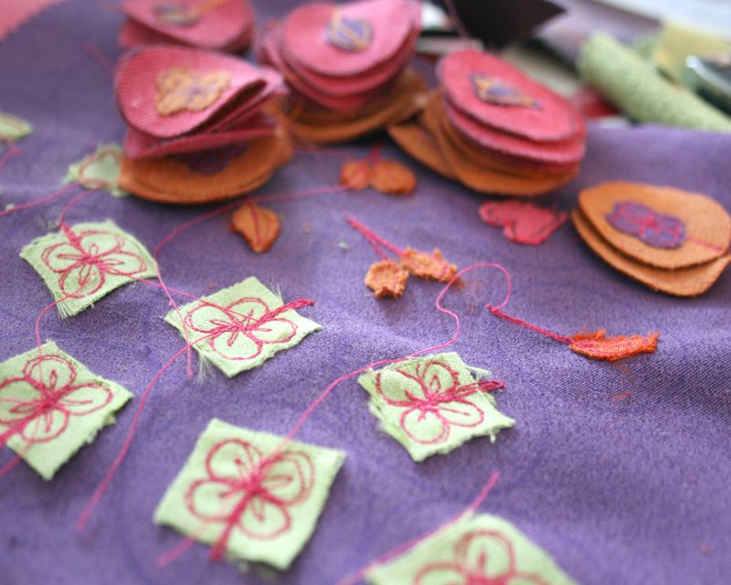 Flourish Applique badges waiting to be made